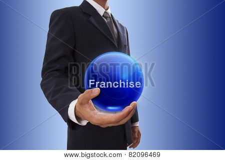 Businessman with franchise word.
