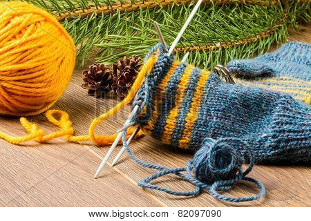 Yarn, Knitting Needles And Mittens