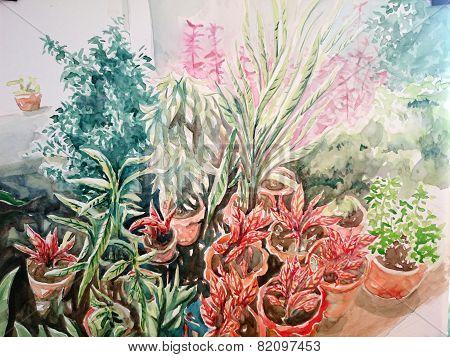 watercolor painting plant pot leaf garden