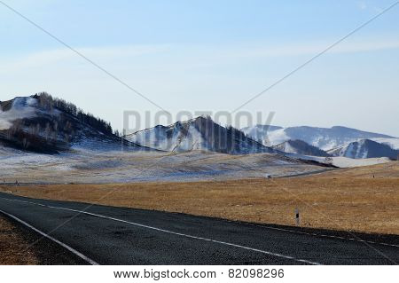 Road to foothills of Western Sayan mountains