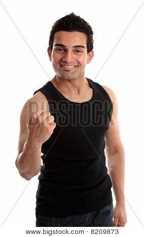 Smiling Man Success Fist
