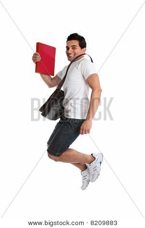 Excited Man Student Jumping