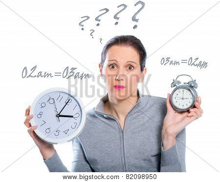 Daylight Saving Time - Woman with two clocks