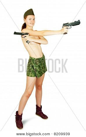Girl In Military Clothes Holding  Guns