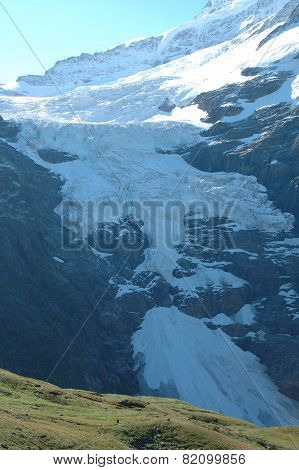 Glacier Nearby Grindelwald In Alps In Switzerland