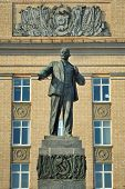 picture of lenin  - Lenin monument in front of Administration building Orel Russia vertical - JPG