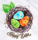 foto of nest-egg  - Happy easter poster nest with eggs painted in pastel colored stylized kids style - JPG