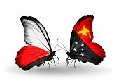 pic of papua new guinea  - Two butterflies with flags on wings as symbol of relations Poland and Papua New Guinea - JPG