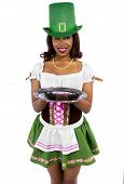 image of st patty  - african american waitress dressed in st patricks day costume - JPG