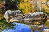 pic of reflections  - Fall Colors Reflection Wenatchee River Reflections Stevens Pass Leavenworth Washington - JPG