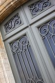 foto of wrought iron  - Details of a stylish wrought iron door - JPG