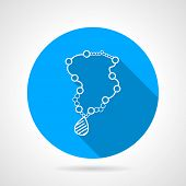 picture of beads  - Flat round blue vector icon with white contour necklace beads on gray background - JPG