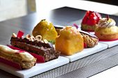 stock photo of french pastry  - Various French pastries in a tea room  - JPG