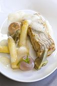 picture of turnips  - Cod fillet asparagus turnips and artichoke on a plate - JPG