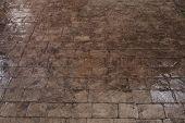 stock photo of stone floor  - black stone block floor of the pavement - JPG