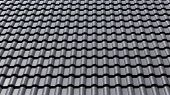 image of roof tile  - black tiles roof on a new house - JPG