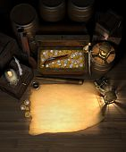 stock photo of treasure map  - Pirate treasure in the hold of a pirate ship showing a treasure chest filled with gold and silver coins amidst a treasure map with are for copy a spy glass compass sextant brass lanterns blunderbuss flintlock pistol barrels and crate - JPG