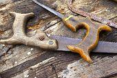 foto of flea  - Old wooden tools in a flea market - JPG
