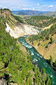 stock photo of calcite  - Calcite Springs near Tower Rosevelt in Yellowstone national park in summer - JPG