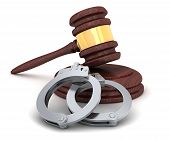 stock photo of handcuffs  - Gavel and handcuffs on a white background  - JPG