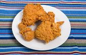 image of southern fried chicken  - Fresh crunchy fried chicken on a white plate - JPG