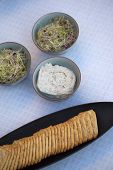 foto of germs  - Soybean germ biscuits and spicy cream on a table - JPG