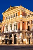 stock photo of wieners  - Wiener Musikverein at evening famous concert hall and landmark of Vienna - JPG