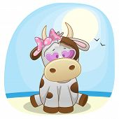 picture of sea cow  - Cute Cow girl in sunglasses on the beach - JPG
