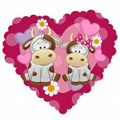 stock photo of child missing  - Two Cows on a background of heart - JPG