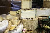 picture of stall  - Cheese and sausages exposure in a market stall - JPG