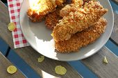 picture of strip  - chicken strips on plate and chilli sauce - JPG