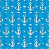 image of knitting  - Seamless knitted pattern with anchors - JPG