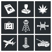 stock photo of smuggling  - Border crossing Icons collection on a black background - JPG