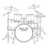 picture of drum-set  - vector dark outline drum set on white background bass tom - JPG