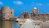 stock photo of crusader  - Crusader Sea Castle in Sidon city in Lebanon - JPG