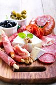 stock photo of cheese platter  - Catering platter with different meat and cheese - JPG