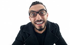 foto of crazy face  - Funny Businessman with Crazy Expression isolated on white background - JPG