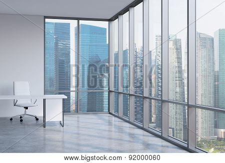 A Workplace In A Modern Corner Panoramic Office. Business District In Singapore. A Concept Of Financ