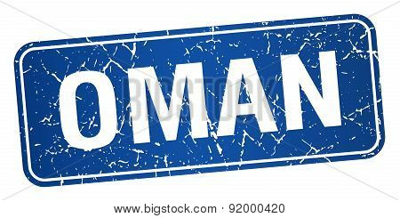 Oman Blue Stamp Isolated On White Background