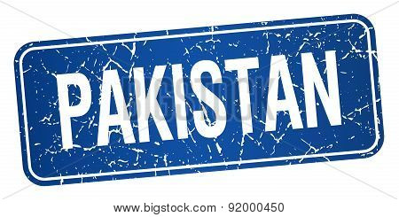 Pakistan Blue Stamp Isolated On White Background