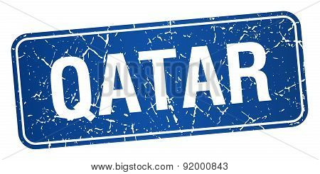 Qatar Blue Stamp Isolated On White Background