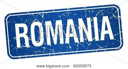 Romania Blue Stamp Isolated On White Background