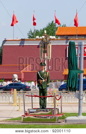 Guard On The Tiananmen Square In Beijing