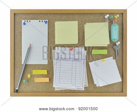 Colorful Sticky Notes, Pencil, Pin And Tag Name On Cork Board, Isolated On White