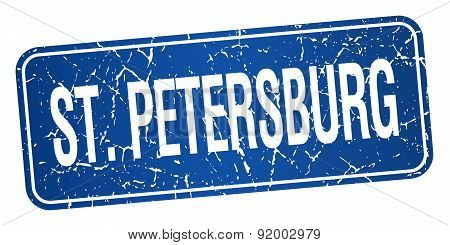 St. petersburg Blue Stamp Isolated On White Background