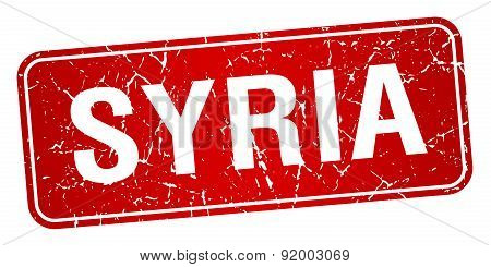 Syria Red Stamp Isolated On White Background
