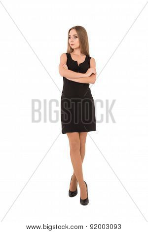 Confident Young Beautiful Businesswoman Looking Awaywhile Standing Isolated On White
