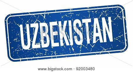 Uzbekistan Blue Stamp Isolated On White Background