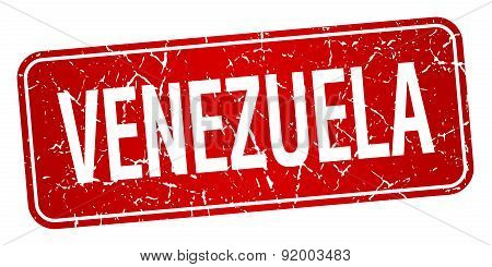 Venezuela Red Stamp Isolated On White Background
