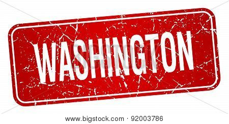 Washington Red Stamp Isolated On White Background